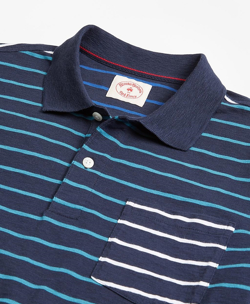 Stripe Slub Cotton Fun Polo Shirt 썸네일 이미지 2