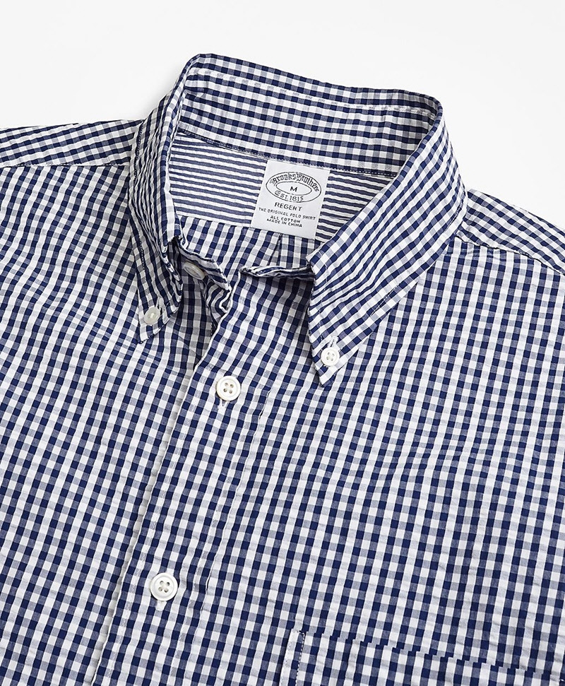 Regent Fit Gingham Seersucker Sport Shirt 썸네일 이미지 2