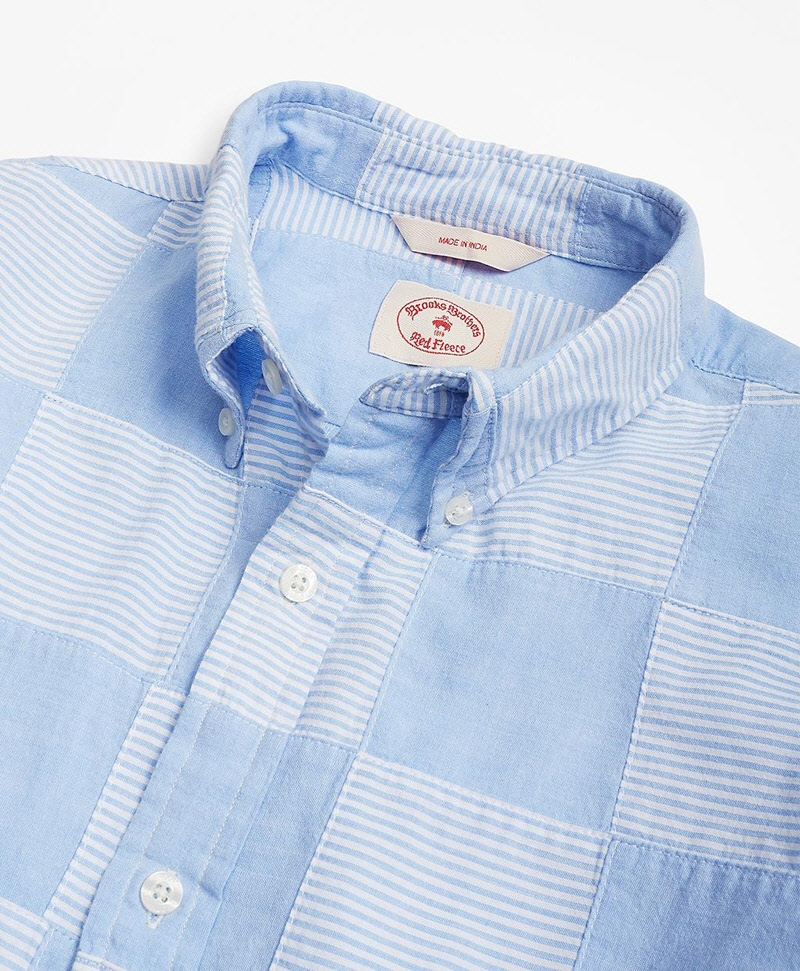 Chambray Patchwork Madras Sport Shirt 썸네일 이미지 2