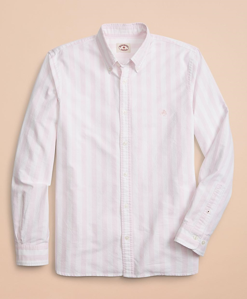 Wide-Stripe Cotton Oxford Sport Shirt 썸네일 이미지 2