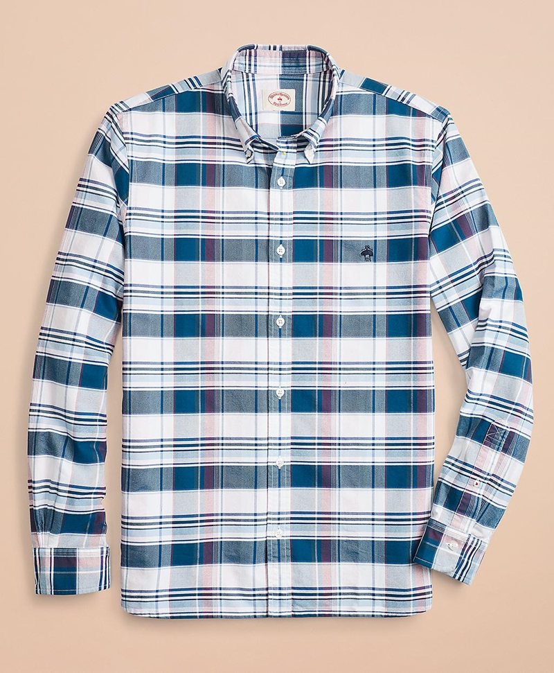 Plaid Cotton Oxford Sport Shirt 썸네일 이미지 2