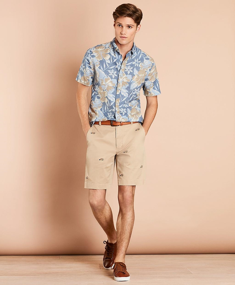 Embroidered Car Cotton Twill Shorts 썸네일 이미지 2