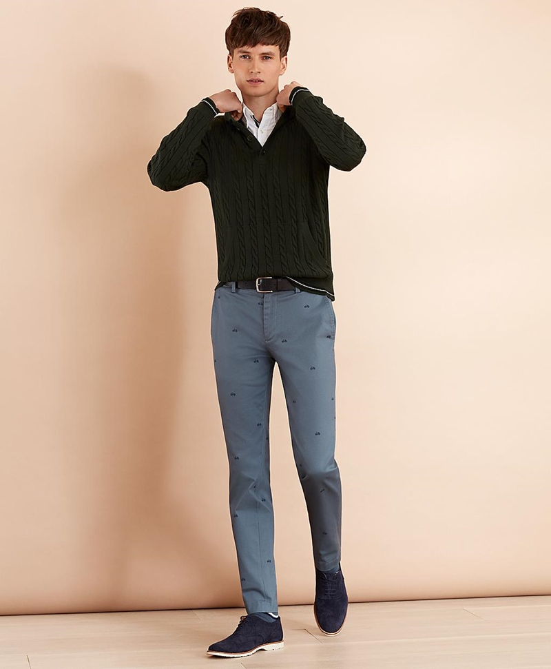 Bicycle-Print Cotton Twill Chinos 썸네일 이미지 2