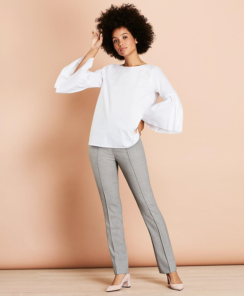 Pintucked Stretch Wool Pants 썸네일 이미지 2