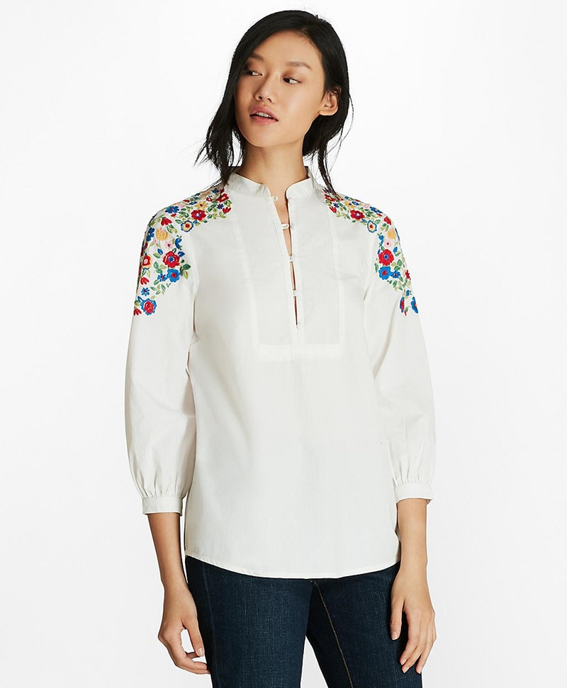Floral-Embroidered Cotton Poplin Peasant Blouse 썸네일 이미지 2