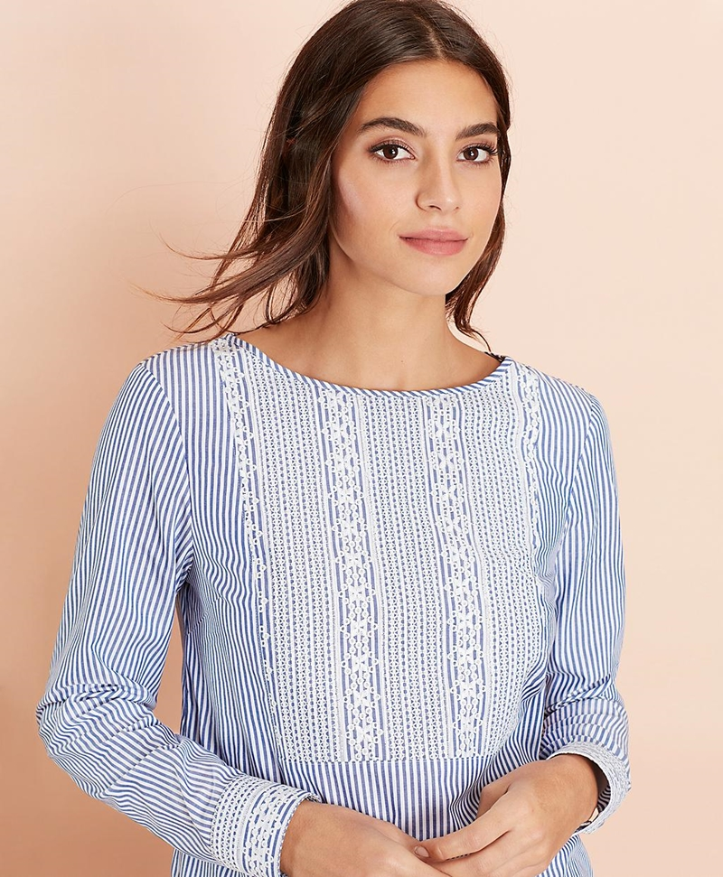 Embroidered Striped Cotton Poplin Blouse 썸네일 이미지 2