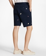 Embroidered Oyster Cotton Twill Shorts 썸네일 이미지 3