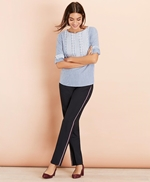 Embroidered Striped Cotton Poplin Blouse 썸네일 이미지 3