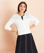 Cotton Cable-Pointelle Cropped Cardigan 썸네일 이미지 3