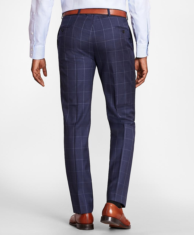 BrooksGate™ Regent-Fit Windowpane Wool Twill Suit Pants 썸네일 이미지 3