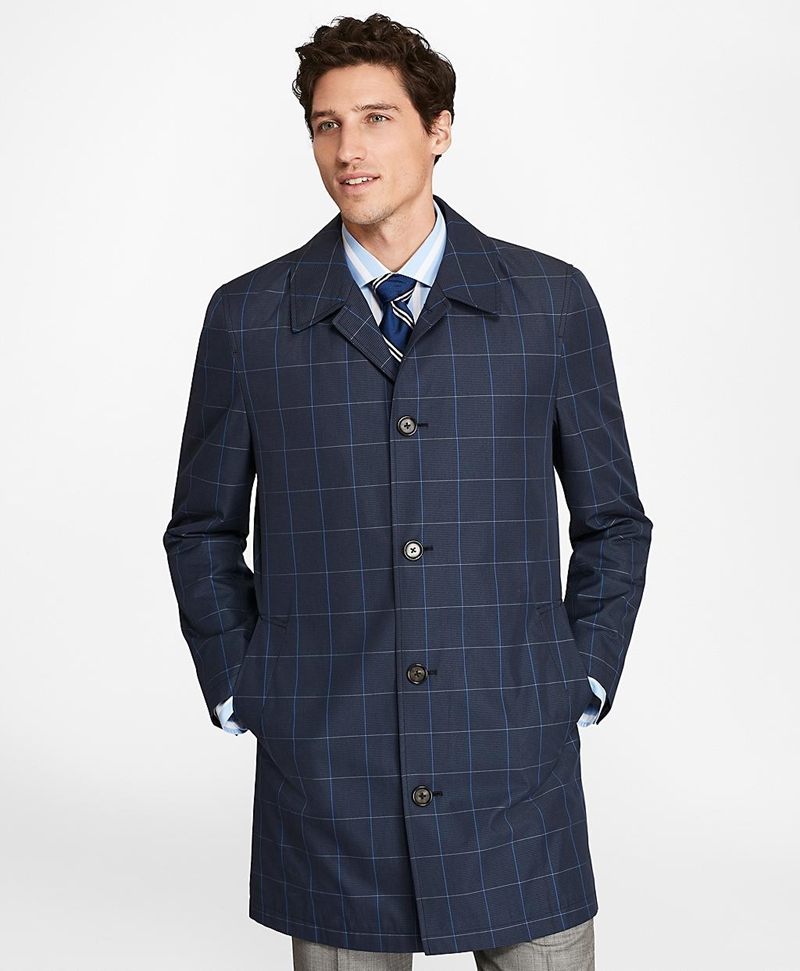Windowpane Water-Repellent Trench Coat 썸네일 이미지 3