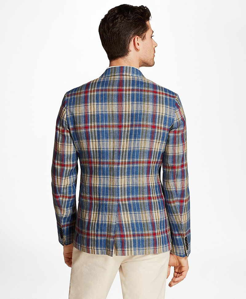 Plaid Three-Button Linen Twill Sport Coat 썸네일 이미지 3