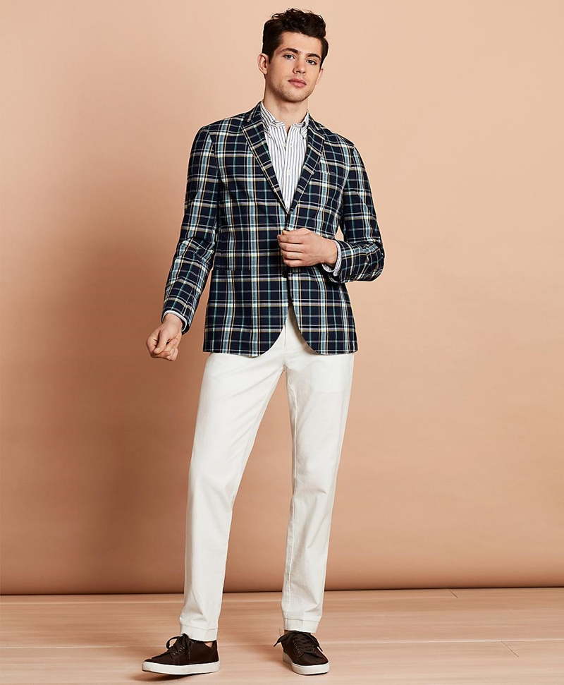 Madras Cotton Two-Button Sport Coat 썸네일 이미지 3