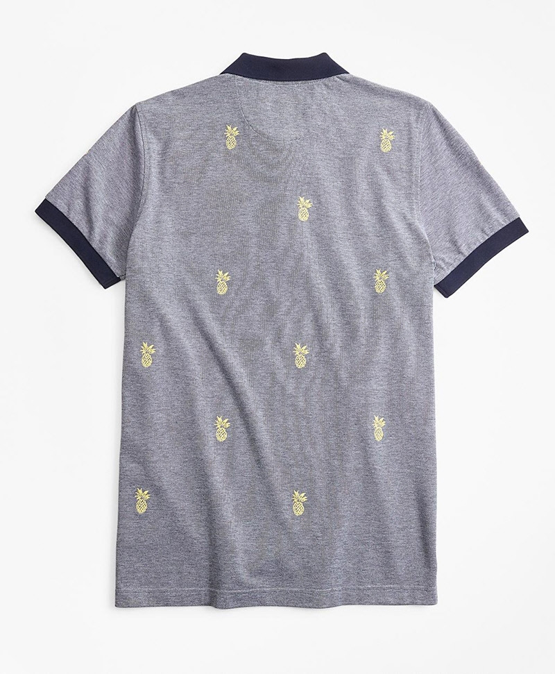 Embroidered Pineapple Cotton Pique Polo Shirt 썸네일 이미지 3