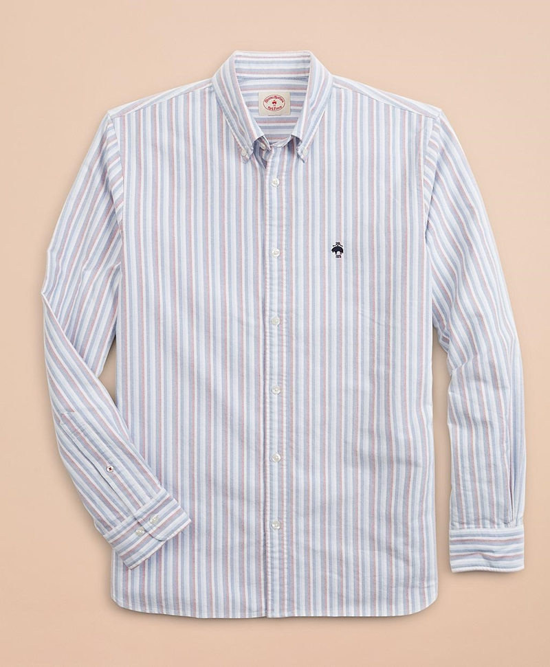 Multi-Stripe Cotton Oxford Sport Shirt 썸네일 이미지 3