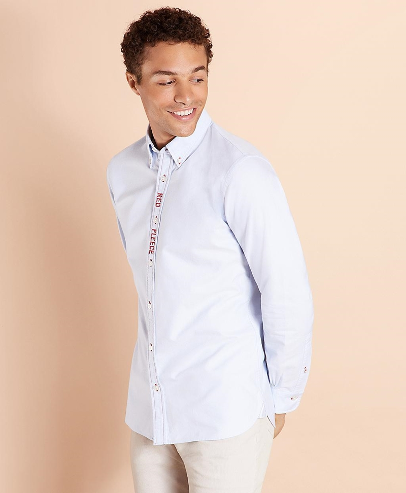 Red Fleece Embroidered Cotton Oxford Shirt 썸네일 이미지 3