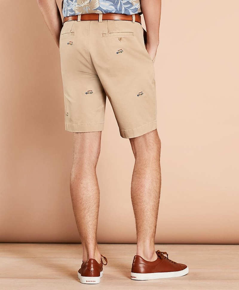 Embroidered Car Cotton Twill Shorts 썸네일 이미지 3