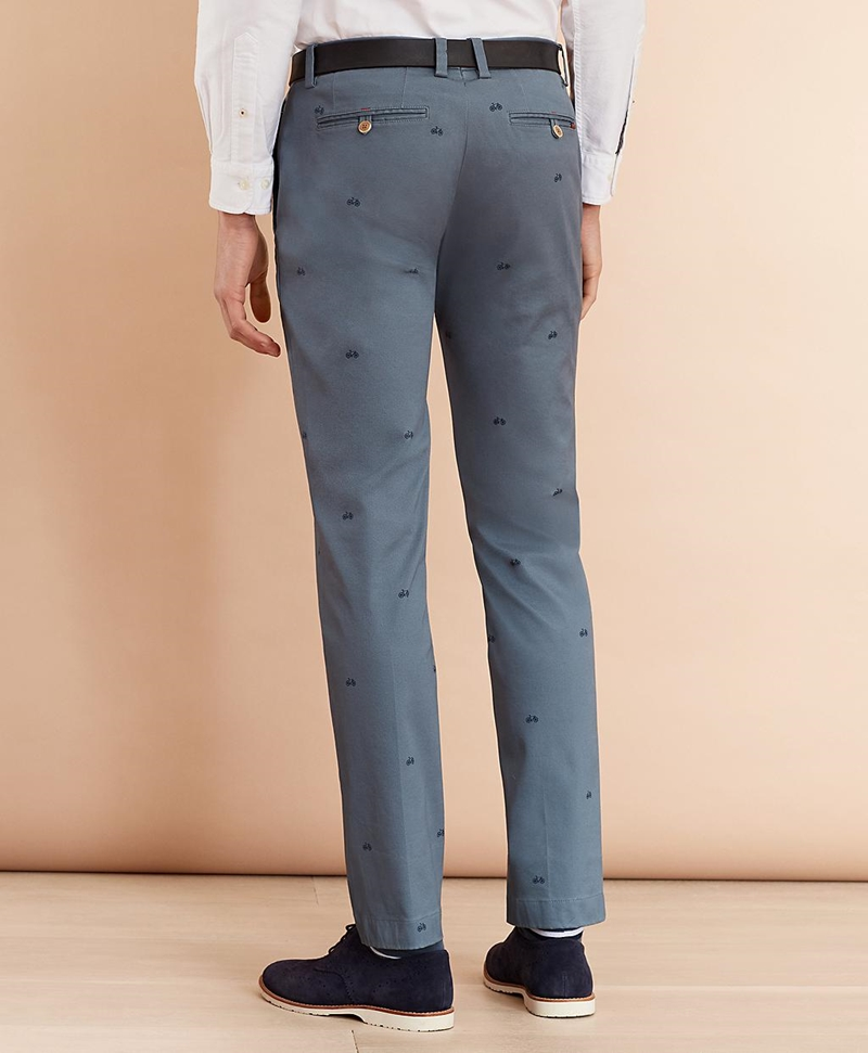 Bicycle-Print Cotton Twill Chinos 썸네일 이미지 3