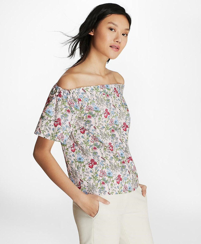 Botanical-Print Cotton Poplin Off-the-Shoulder Top 썸네일 이미지 3