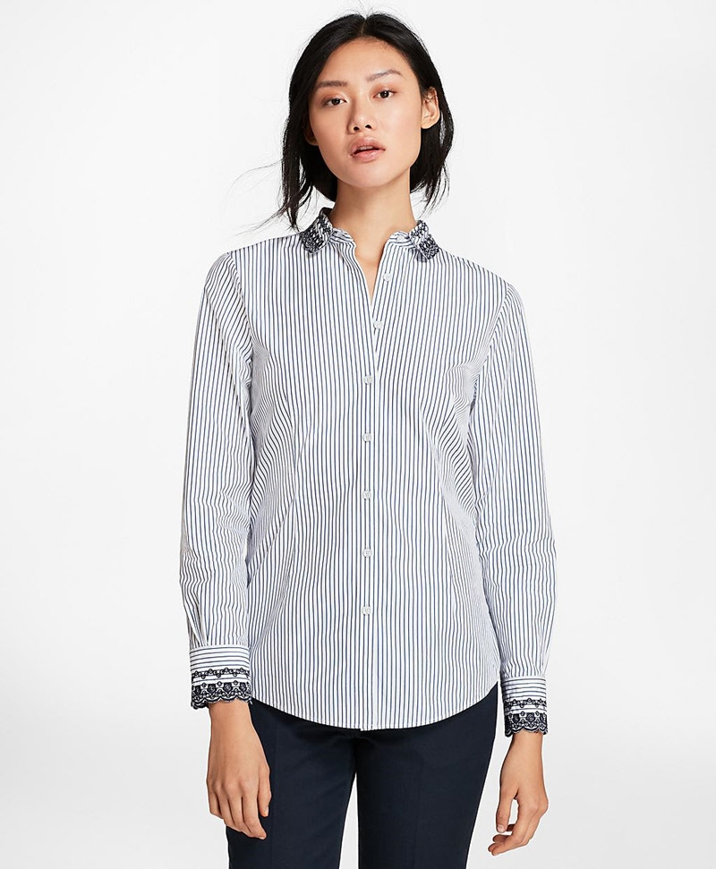 Eyelet-Embroidered Striped Cotton Poplin Shirt 썸네일 이미지 3