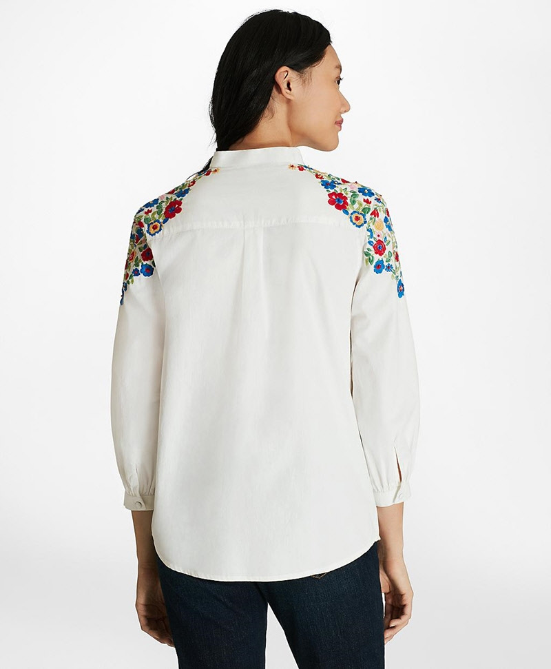 Floral-Embroidered Cotton Poplin Peasant Blouse 썸네일 이미지 3