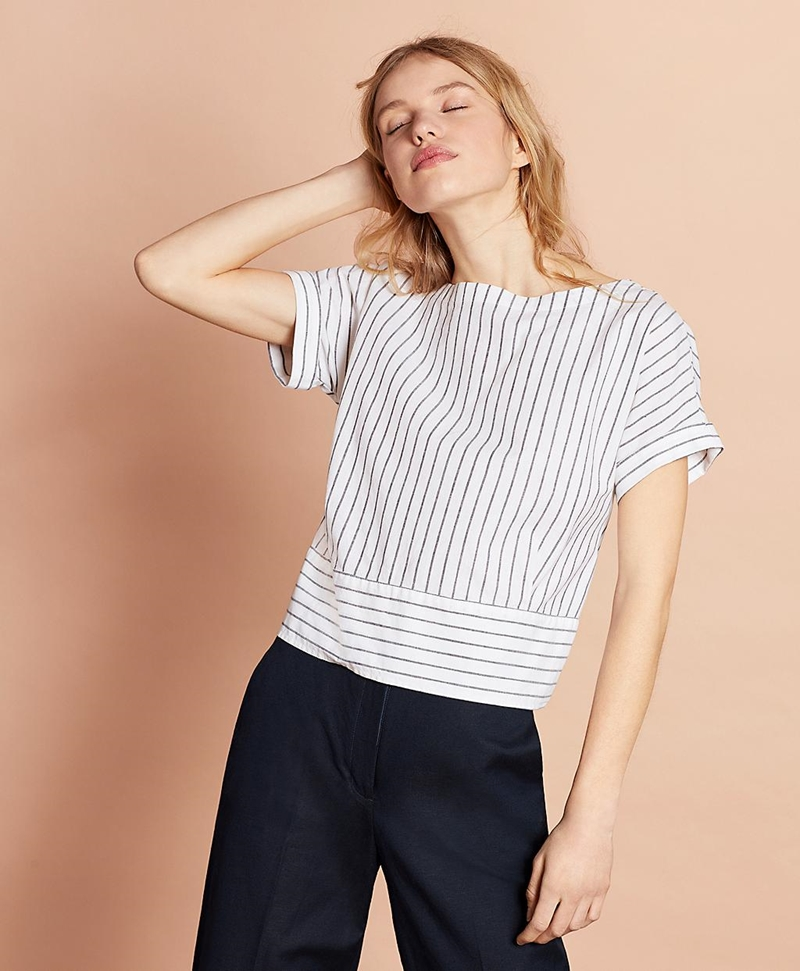 Shimmer Stripe Linen-Cotton Tie-Back Blouse 썸네일 이미지 3