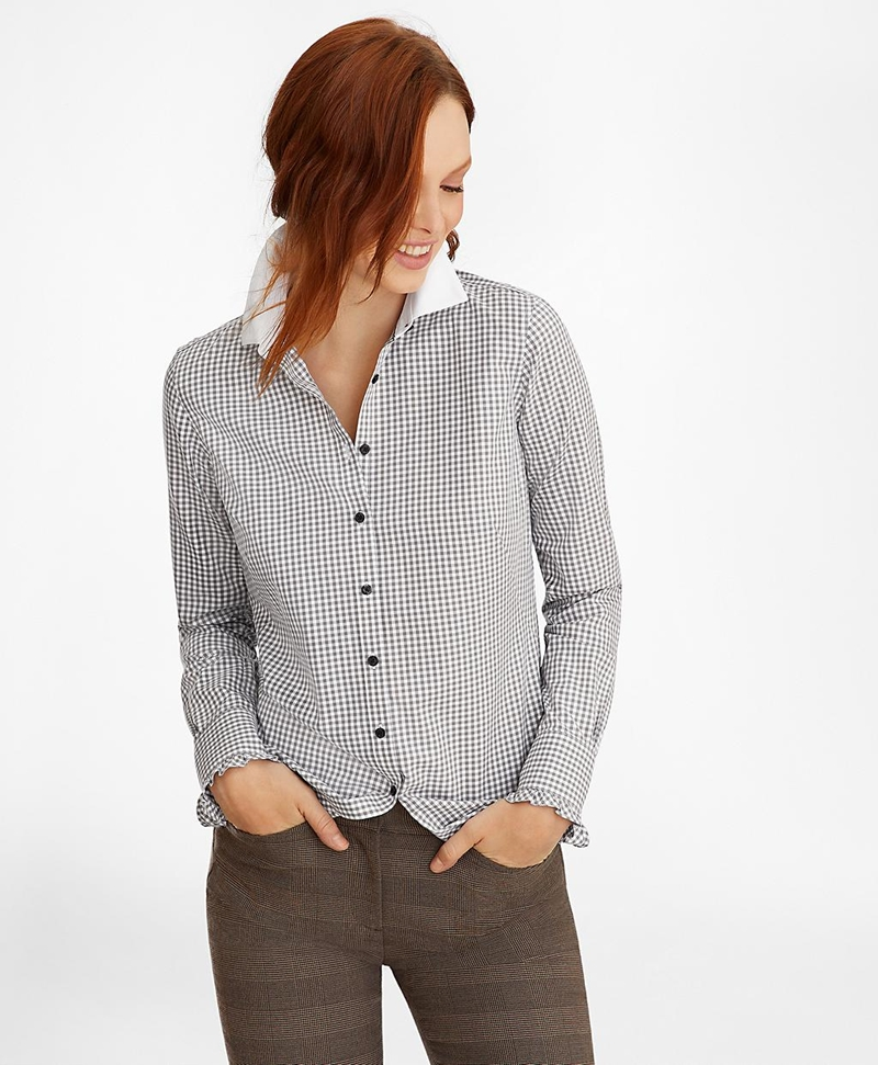 Non-Iron Gingham Supima® Cotton Dobby Contrast-Collar Fitted Shirt 썸네일 이미지 3