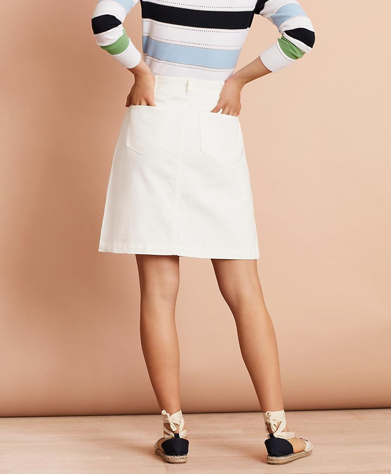 Stretch-Cotton Twill Button-Front Skirt 썸네일 이미지 3
