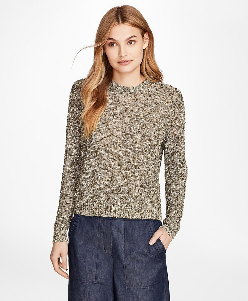 Cropped Shimmer Boucle Sweater 썸네일 이미지 3