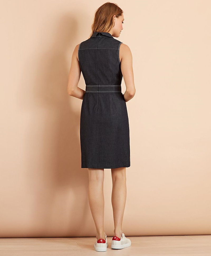 Stretch Cotton Denim Dress 썸네일 이미지 3