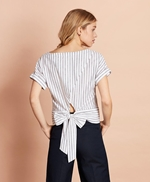 Shimmer Stripe Linen-Cotton Tie-Back Blouse 썸네일 이미지 4