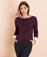 Striped Jersey Contrast-Cuff Top 썸네일 이미지 4