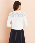 Cotton Cable-Pointelle Cropped Cardigan 썸네일 이미지 4