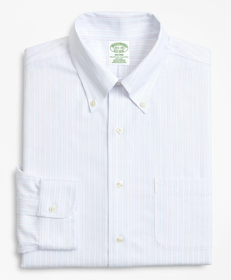 BrooksCool® Milano Slim-Fit Dress Shirt, Non-Iron Stripe 썸네일 이미지 4