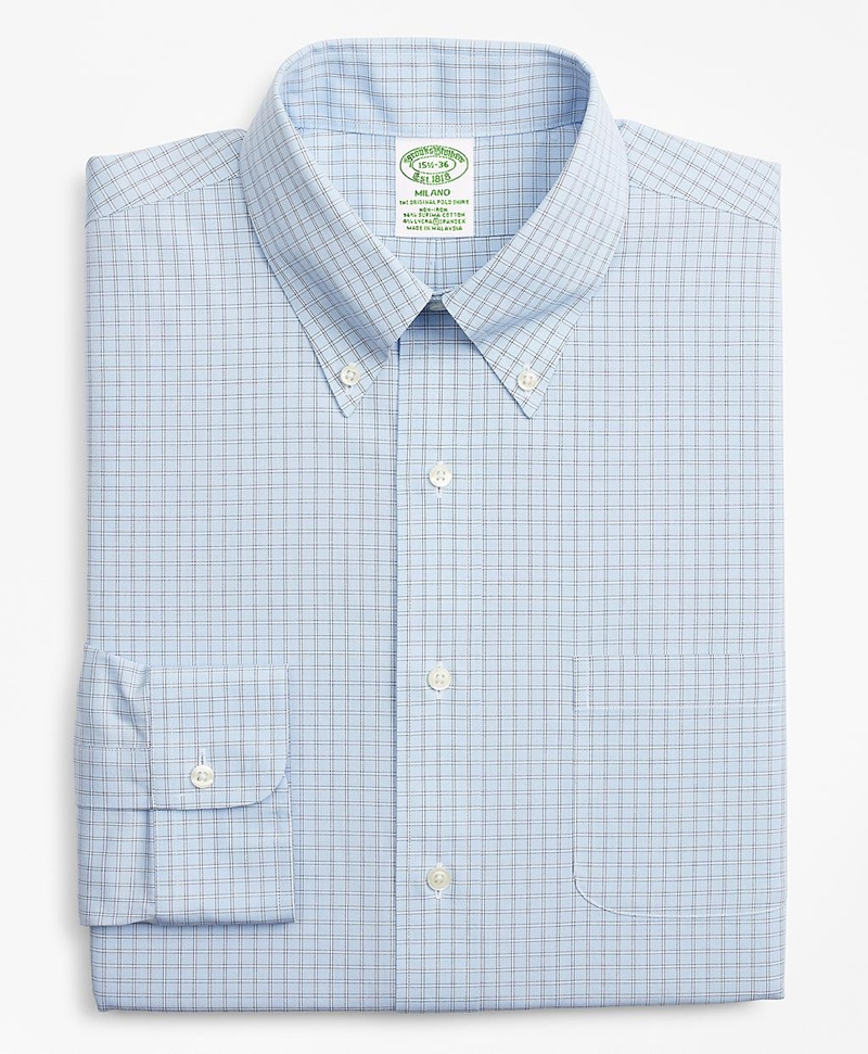 Stretch Milano Slim-Fit Dress Shirt, Non-Iron Check 썸네일 이미지 4