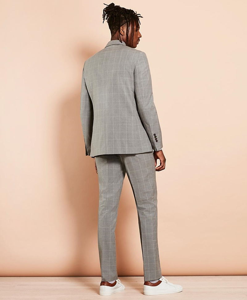 Windowpane Wool-Blend Double-Breasted Suit 썸네일 이미지 4