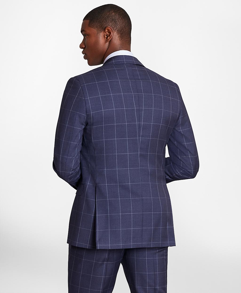 BrooksGate™ Regent-Fit Windowpane Wool Twill Suit Jacket 썸네일 이미지 4