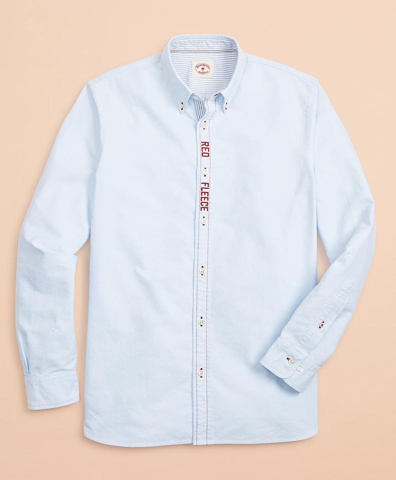 Red Fleece Embroidered Cotton Oxford Shirt 썸네일 이미지 4
