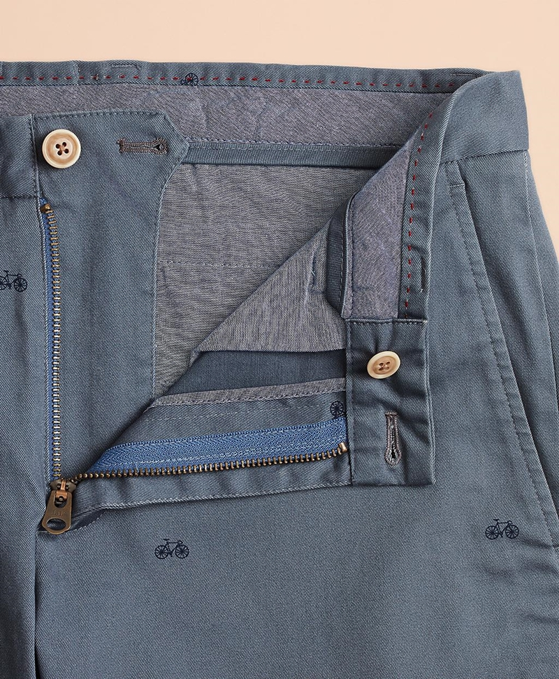 Bicycle-Print Cotton Twill Chinos 썸네일 이미지 4