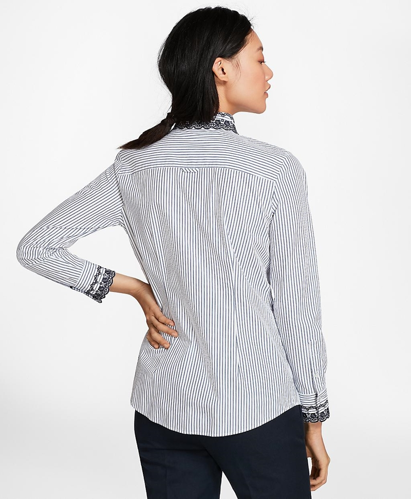 Eyelet-Embroidered Striped Cotton Poplin Shirt 썸네일 이미지 4