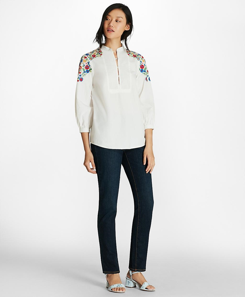 Floral-Embroidered Cotton Poplin Peasant Blouse 썸네일 이미지 4