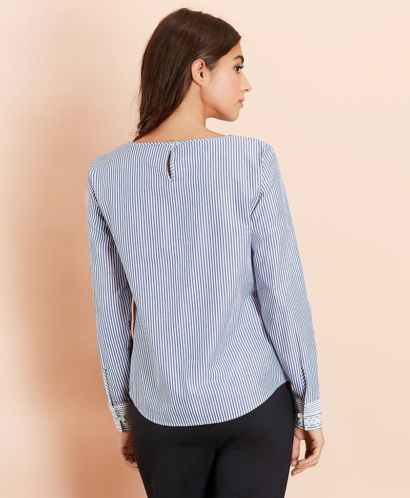 Embroidered Striped Cotton Poplin Blouse 썸네일 이미지 4