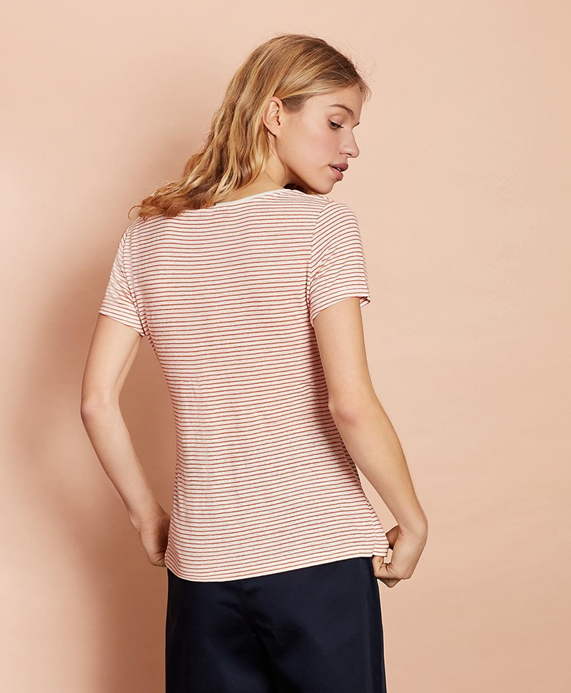 Striped Linen-Blend Scoop-Neck T-Shirt 썸네일 이미지 4