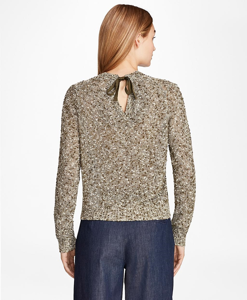 Cropped Shimmer Boucle Sweater 썸네일 이미지 4