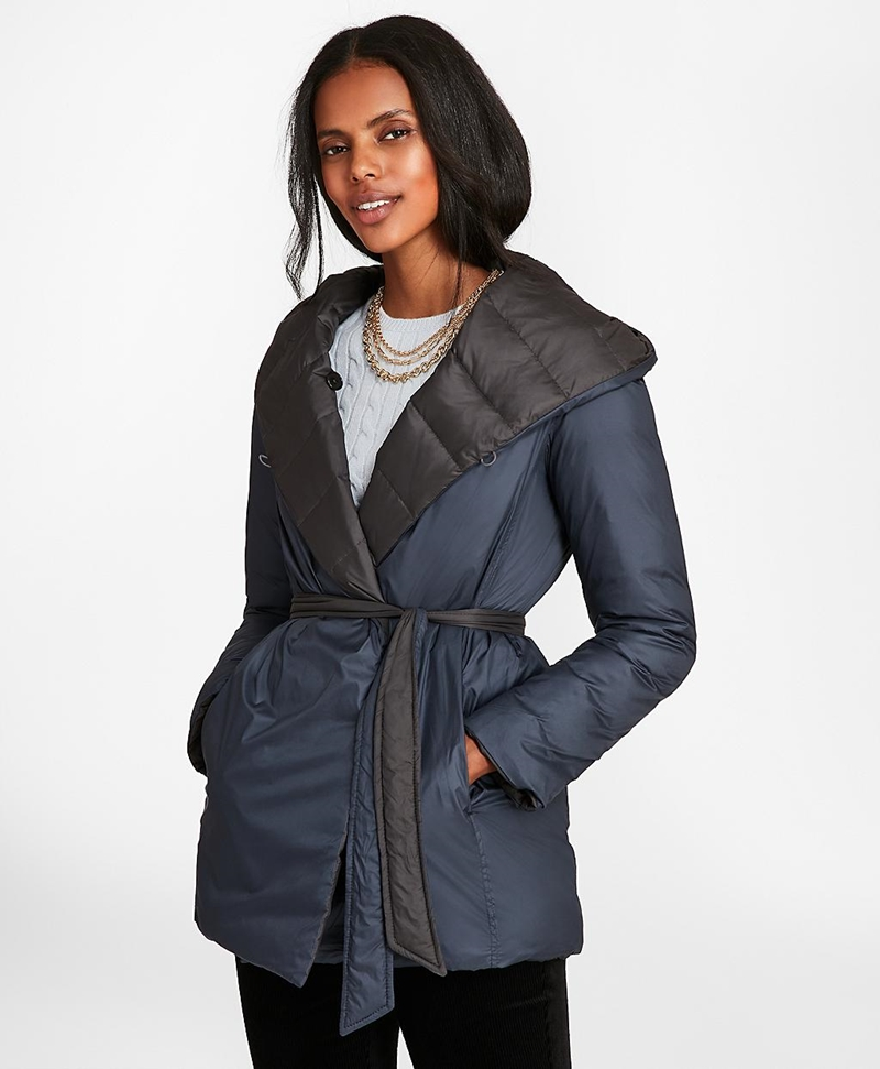 Reversible Water-Repellent Down-Filled Wrap Coat 썸네일 이미지 4