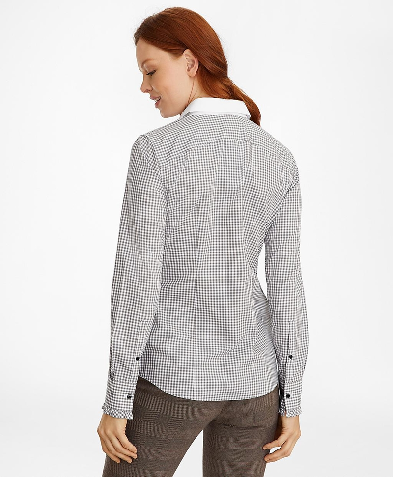 Non-Iron Gingham Supima® Cotton Dobby Contrast-Collar Fitted Shirt 썸네일 이미지 5