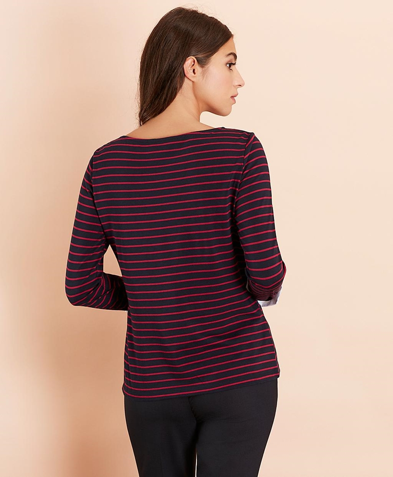 Striped Jersey Contrast-Cuff Top 썸네일 이미지 5