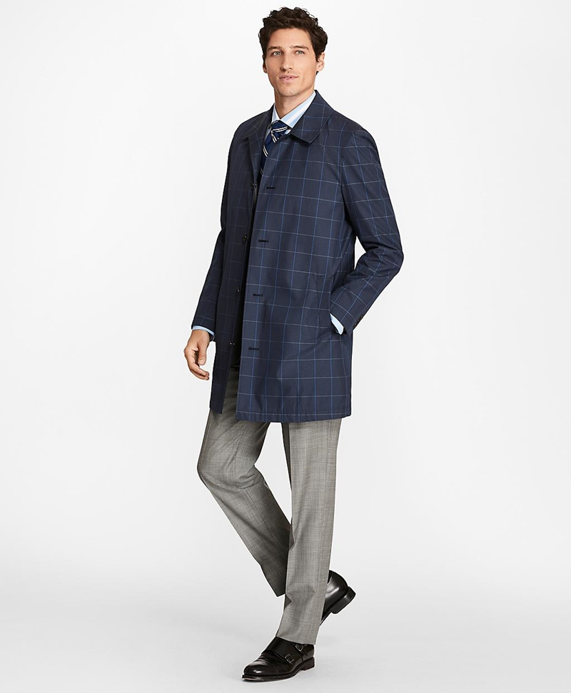 Windowpane Water-Repellent Trench Coat 썸네일 이미지 6