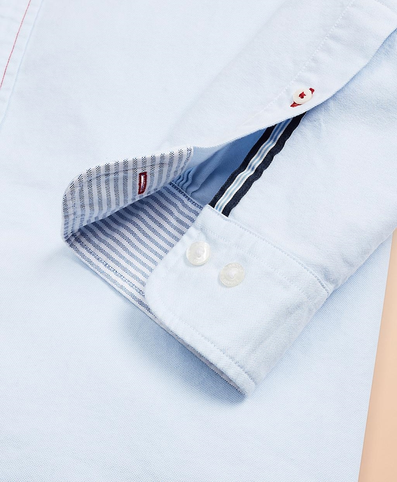 Red Fleece Embroidered Cotton Oxford Shirt 썸네일 이미지 6