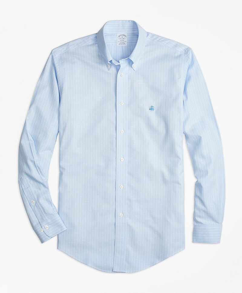 Non iron regent fit oxford stripe sport shirt brooks for Brooks brothers non iron shirt review